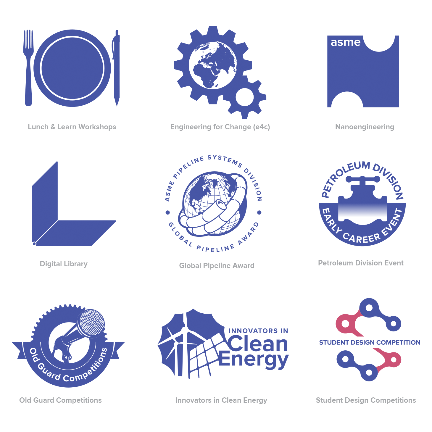 Logos for various programs and sections of ASME.org